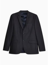 Navy Slim Fit Check Single Breasted Blazer With Notch Lapels