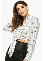 Tie-front Grid Shirt