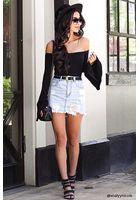 Frayed-hem Denim Mini Skirt