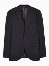 Navy Slim Fit Pindot Single Breasted Blazer With Notch Lapels
