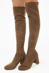 Faux Suede Over-the-knee Sock Boots