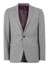 Grey Marl Skinny Fit Single Breasted Blazer With Notch Lapels