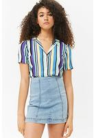 Paneled Denim Mini Skirt