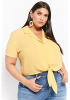 Plus Size Cropped Self-tie Shirt
