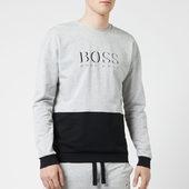 Boss Hugo Boss Men's Logo Crew Neck Sweat Top - Grey/black - S - Grey