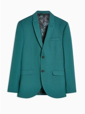 Green Skinny Fit Single Breasted Blazer With Peak Lapels