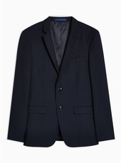 Navy Skinny Fit Textured Single Breasted Blazer With Notch Lapels