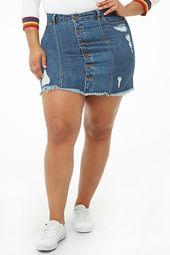 Plus Size Distressed Denim Mini Skirt