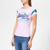Superdry Women's Shirt Shop Varsity Entry T-shirt - Pastel Pink Marl - Uk 8 - Pink