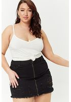 Plus Size Zip-front Denim Skirt