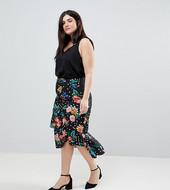 Falda Midi Con Estampado Floral De Lunares Y Detalle De Volante De Asos Curve