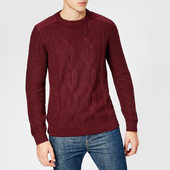 Ted Baker Men's Laichi Cable Crew Neck Knitted Jumper - Dark Red - 5/xl - Red