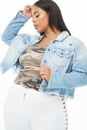 Plus Size Frayed Distressed Denim Jacket