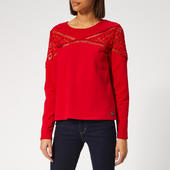 Superdry Women's Zariah Lace Panel Top - Nautical Red - S - Red