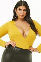 Plus Size Surplice Long-sleeve Bodysuit
