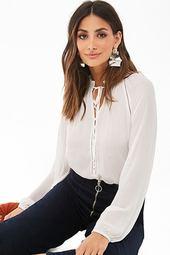 Ruffled Split-neck Shirt