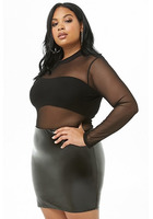 Plus Size Faux Patent Leather Mini Skirt