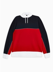 Red And Navy Panel Hoodie