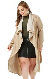 Plus Size Textured Drape-front Jacket