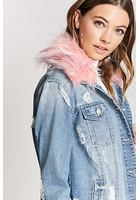 Distressed Faux Fur Collar Denim Jacket