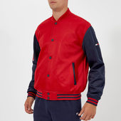 Tommy Jeans Men's Tjm Varsity Mesh Jacket - Samba/black Iris - L - Red