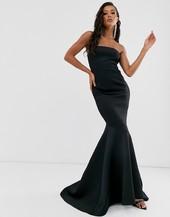 Vestido Largo Con Escote Bardot Y Cola De Pez En Negro Black Label De True Violet