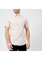Michael Kors Men's Slim Fit Micro Pin Dot Garment Dyed Short Sleeve Shirt - Faded Pink - S - Pink
