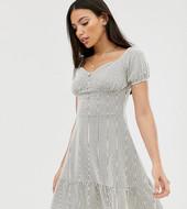 Vestido De Verano Con Escote Bardot Y Rayas Texturizadas De Asos Design Tall