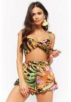 Reverse Sheer Floral Tie-front Crop Top & Ruffle-hem Shorts Set