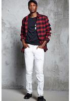 Distressed Slim-fit Moto Jeans