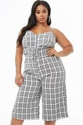 Plus Size Plaid Culotte Jumpsuit