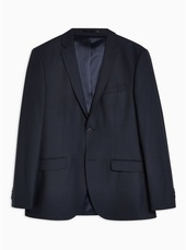 Navy Skinny Fit Single Breasted Blazer With Notch Lapels