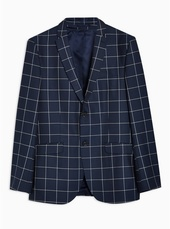 Navy Slim Fit Windowpane Check Single Breasted Blazer With Notch Lapels