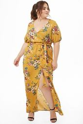 Plus Size Floral M-slit Maxi Dress