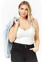 Plus Size Ribbed V-neck Bodysuit