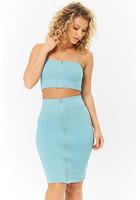 Zip-front Crop Top & Pencil Skirt Set