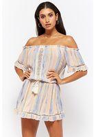 Vintage Havana Multi-striped Off-the-shoulder Mini Dress