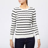 Superdry Women's Croyde Bay Cable Knit Jumper - Cream/navy Stripe - Uk 10 - Blue