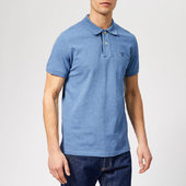 Gant Men's Contrast Collar Pique Short Sleeve Rugger - Denim Blue Mel - S - Blue