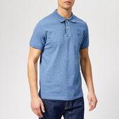 Gant Men's Contrast Collar Pique Short Sleeve Rugger - Denim Blue Mel - S - Blue
