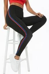Striped-trim Pintuck Leggings