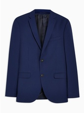 Blue Two Tone Skinny Fit Single Breasted Blazer With Notch Lapels
