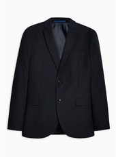 Navy Tailored Fit Textured Single Breasted Blazer With Notch Lapels