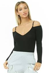 Open-shoulder Ribbed Bodysuit