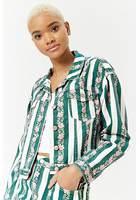 Striped Floral Denim Jacket
