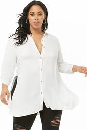 Plus Size Longline Button-down Shirt