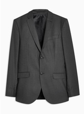 Black Slim Fit Pinstripe Single Breasted Blazer With Notch Lapels