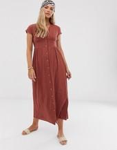Vestido Largo Con Textura Y Botones En La Parte Delantera De Vero Moda