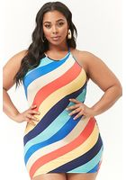 Plus Size Striped Strappy Mini Dress