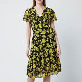 Michael Michael Kors Women's Glam Paint Flower Wrap Dress - Black/golden Yellow - M - Black